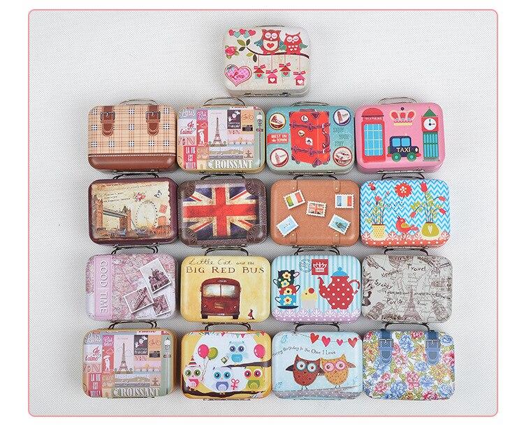 Caja de almacenaje para dulces con forma de maleta, 120 Uds., envío gratis, venta al por mayor, caja organizadora de cables para recuerdos de boda wen4438
