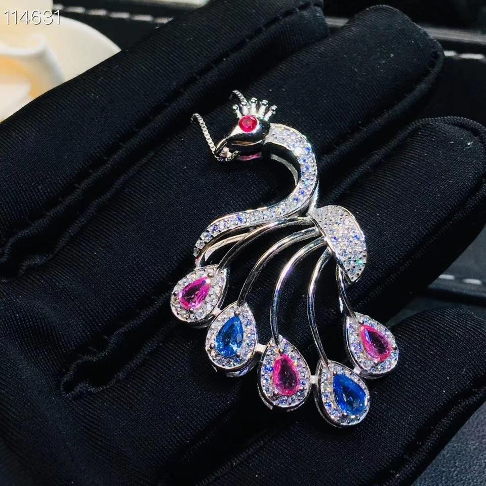 Multicolor colar de pingente de safira naturais S925 prata gemstone natural pingente de moda Pavão das mulheres da menina do presente do partido jóias