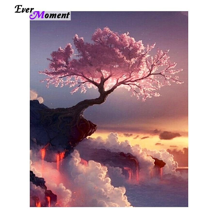 Paisaje bordado de diamantes con paisaje de árbol Rosa escénico 5d pintura de diamantes de punto de cruz diy pintura de diamantes paisaje ASF008