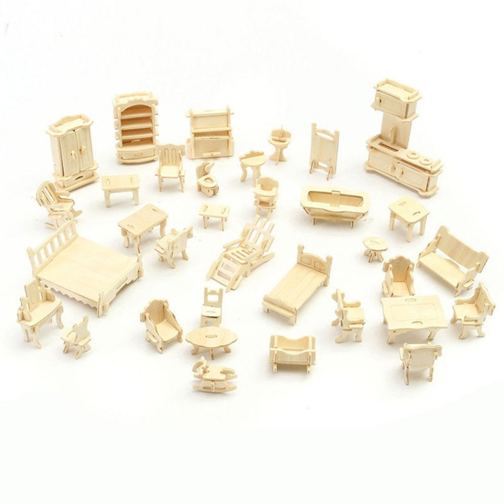 34 шт./компл. 3D Деревянный миниатюрный кукольный домик, модель мебели, мини-головоломка, деревянные детские Pretent DIY игрушки для дома, YH-17