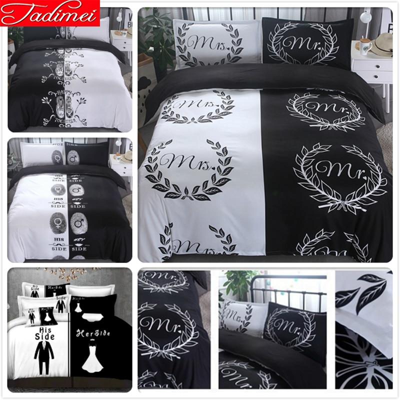 Pareja amante creativo negro blanco Mr Mrs edredón funda de cama conjunto de ropa de cama suave doble Queen King Size 228x228