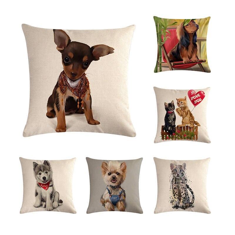 45cm*45cm Cushion cover love pet dog husky design linen/cotton pillow case sofa and Home decorative pillow cover