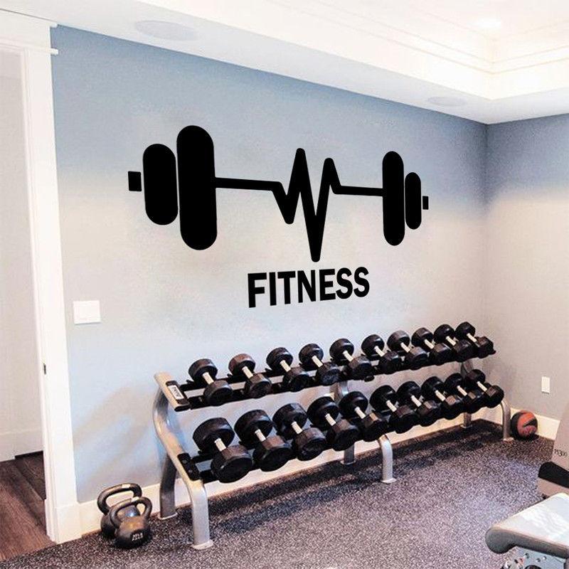 Виниловые Настенные Стикеры для занятий спортом в тренажерном зале, штанги для тяжелой атлетики, настенные наклейки для фитнеса, клуба, украшения для фитнеса, логотип, обои для художественной росписи AZ053