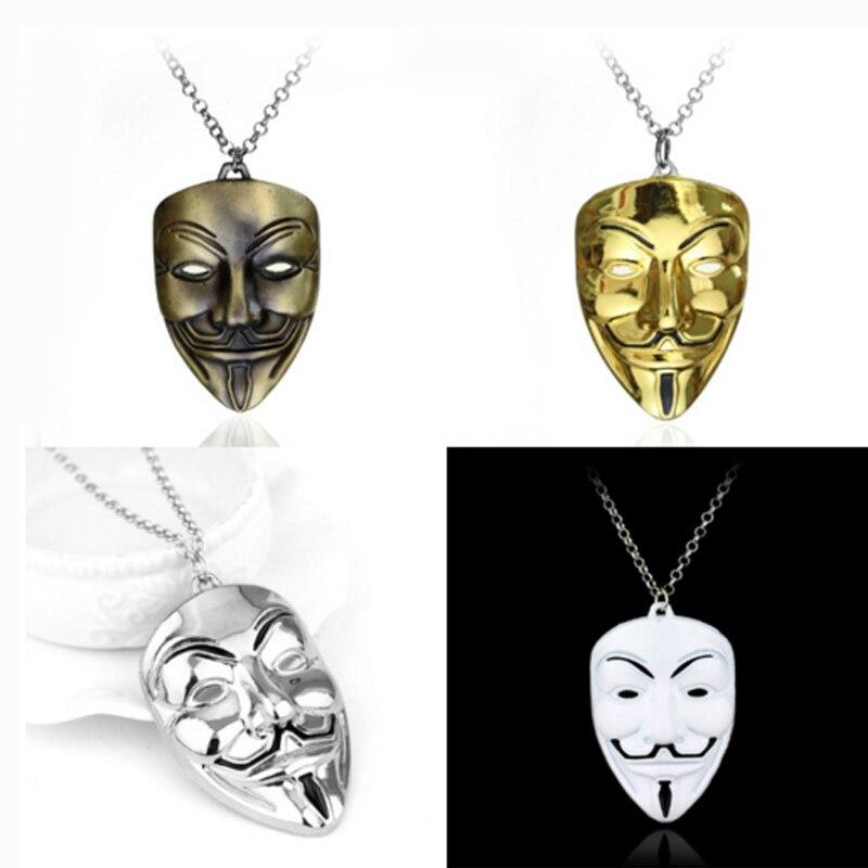 Ожерелье из фильма Вендетта, анонимированная маска, ювелирные изделия, Преувеличенные маски ожерелья хакера, ожерелье s в виде AVP (Чужой против Хищника), модные ювелирные изделия