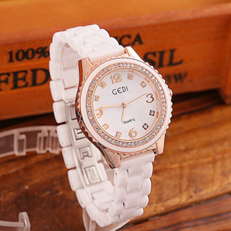Dropshipping 2019 Shining Diamond  Women Watches Elegant Luxury Quartz Movement High Quality Ladies Dress Watches ceramic enlarge