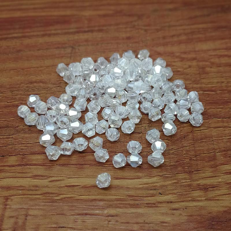 100pcs 4mm Glass Crystals Beads Bicone Faceted Bead Loose Spacer Beads Clear AB DIY Jewelry Findings Bracelet Making