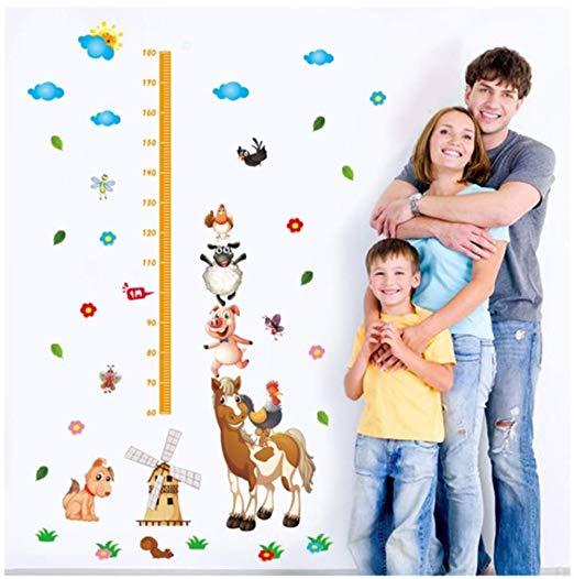 Милый мультфильм диаграмма роста Наклейки на стены лошадь свинья собака