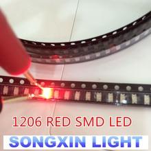 100PCS 1206 luce rossa light-emitting diode SMD LED 3216 Diodi SMD 1206 led 620-625NM 100-120MCD 2,0-2.6V 3.2*1.6