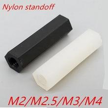 1000 Pcs M2 M2.5 M3 500 Pcs M4 Wit Of Zwart Hex Nylon Standoff Spacer Kolom Platte Kop Dubbele Pass nylon Plastic Afstand Schroeven