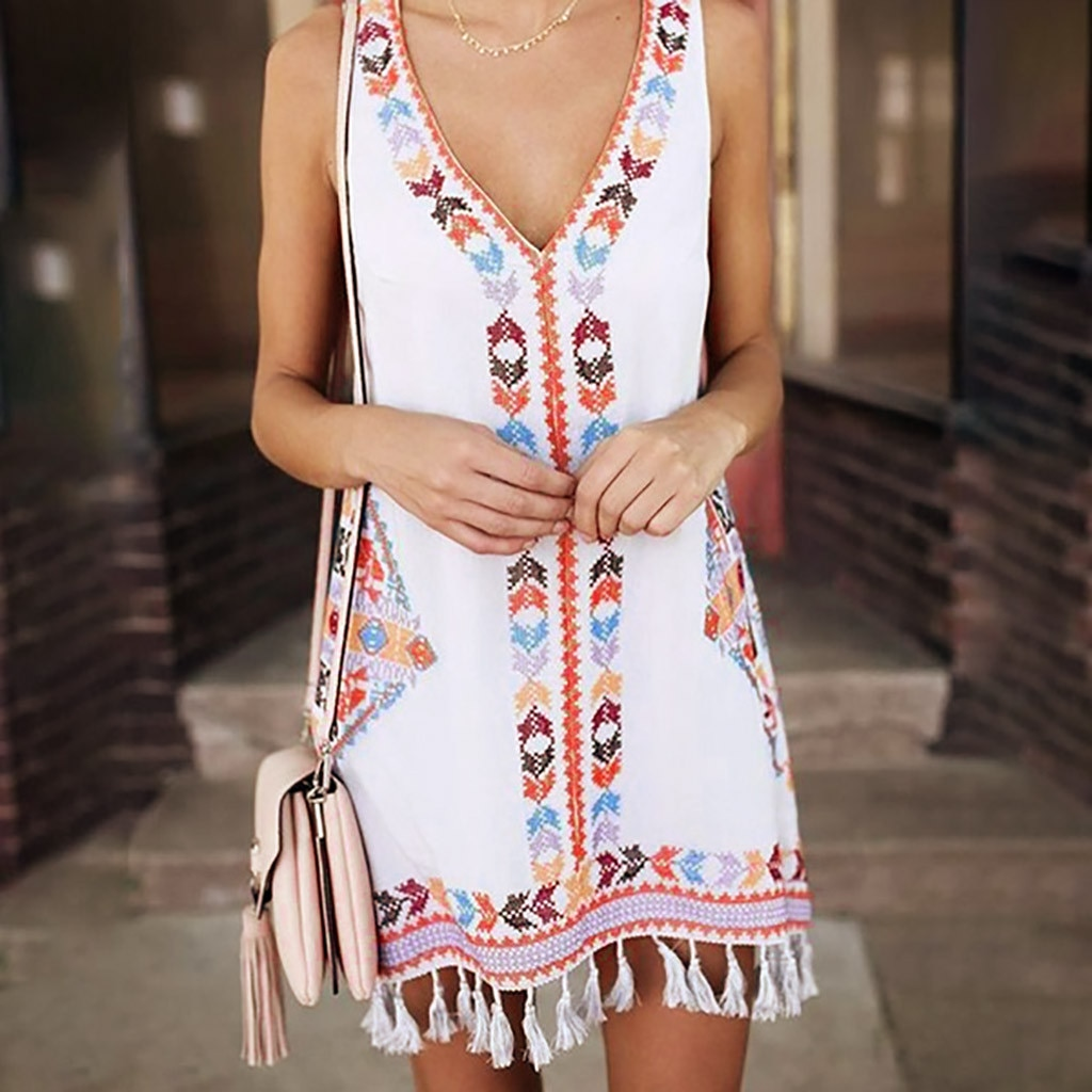 Feitong, vestido de verano con cuello en V sexi para mujer, moda Bohemia, borla, estampado informal, sin mangas, Mini Vestido de playa, chica, vestido de tirantes finos