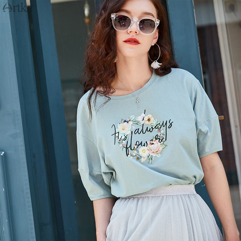 ARTKA 2019 verano 100% algodón Mujer camiseta moda flor estampado o-cuello manga corta linterna camiseta para mujer TA12498X