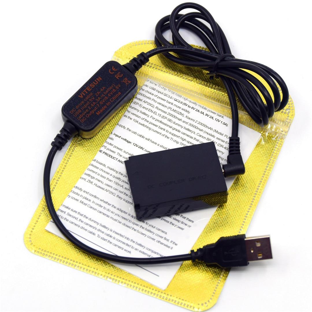 5V USB ladegerät kabel ACK-E12 USB power bank + DR-E12 DC Koppler LP-E12 dummy batterie für Canon EOS M m2 M10 M50 M100 M200 kameras