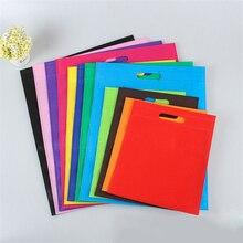 Ucuz 500 adet/grup yeniden dokuma olmayan alışveriş çantaları logo ile 12 renkler 5 boyutları seçtiğiniz için çevre dostu ücretsiz kargo