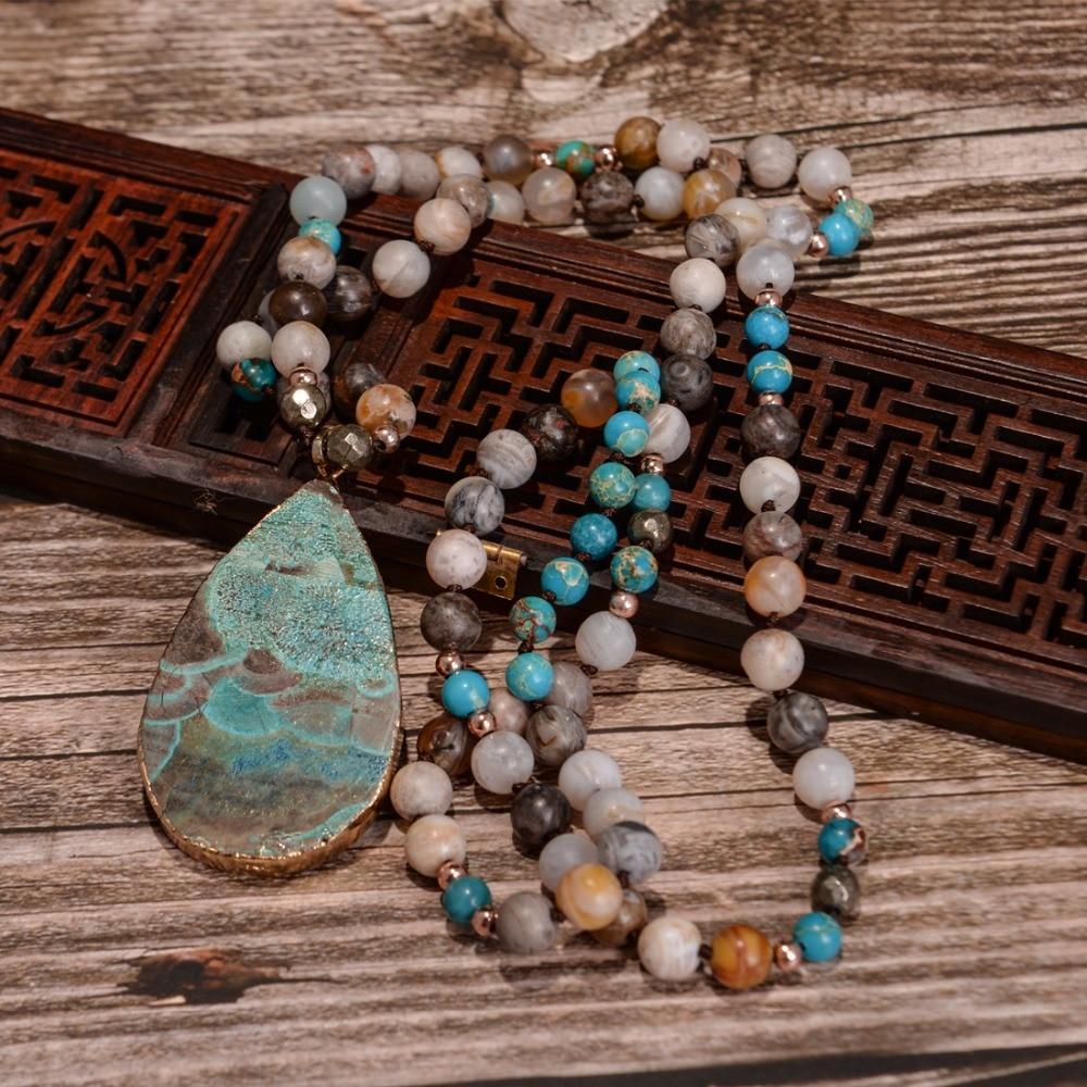 Collar bohemio hecho a mano a la moda para mujer, mezcla de piedras naturales, colgante de lágrima grande, collar de lazo, collar bohemio anudado