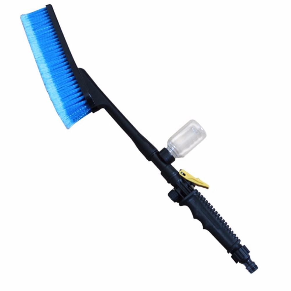 1pc azul lavado cepillo Auto Exterior retráctil mango largo interruptor de flujo de agua botella de espuma coche cepillo de limpieza