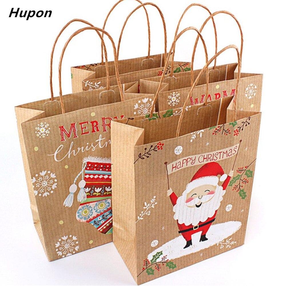 12 шт рождественские подарочные сумки Санта-Клаус крафт-бумажный мешок для детской вечеринки Подарочная коробка Рождественские украшения для дома новый год 2019 navidad