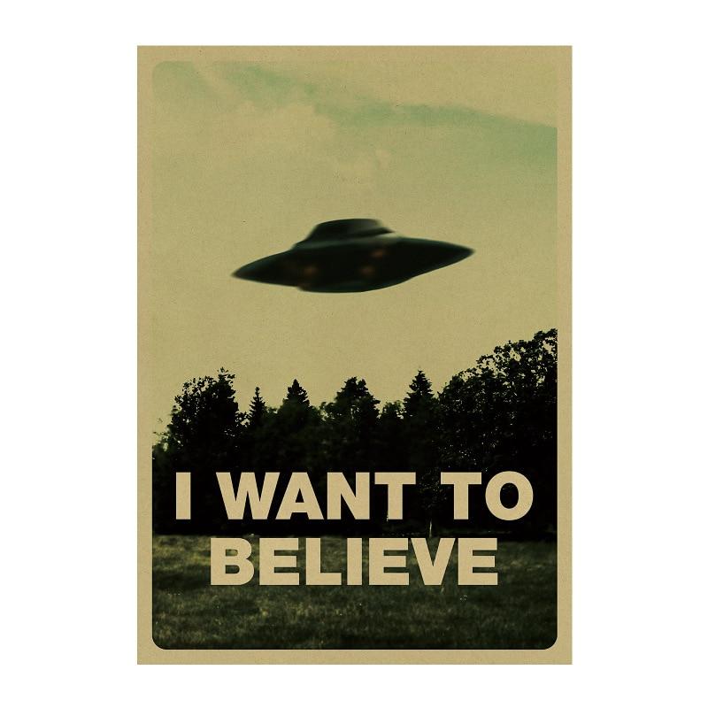 Я хочу верить НЛО/научному воображению/наклейки на стену/крафт-бумага/бар постер/ретро постер/декоративная живопись 51x35.5cm