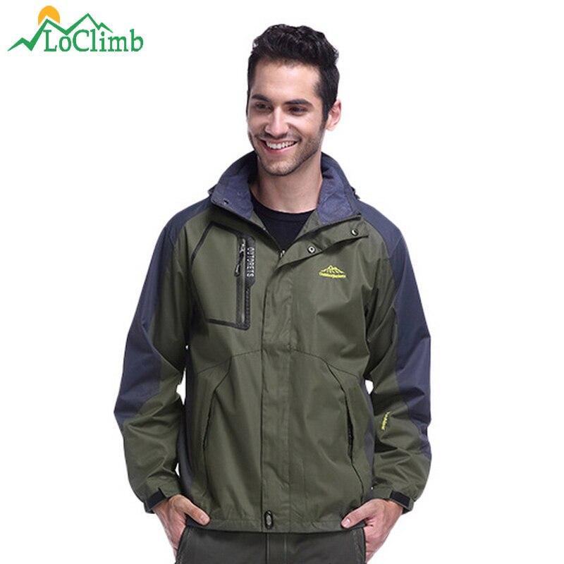 LoClimb grande taille L-9XL marque Camping randonnée vestes hommes imperméable extérieur Sport manteau Trekking escalade hommes coupe-vent, AM017