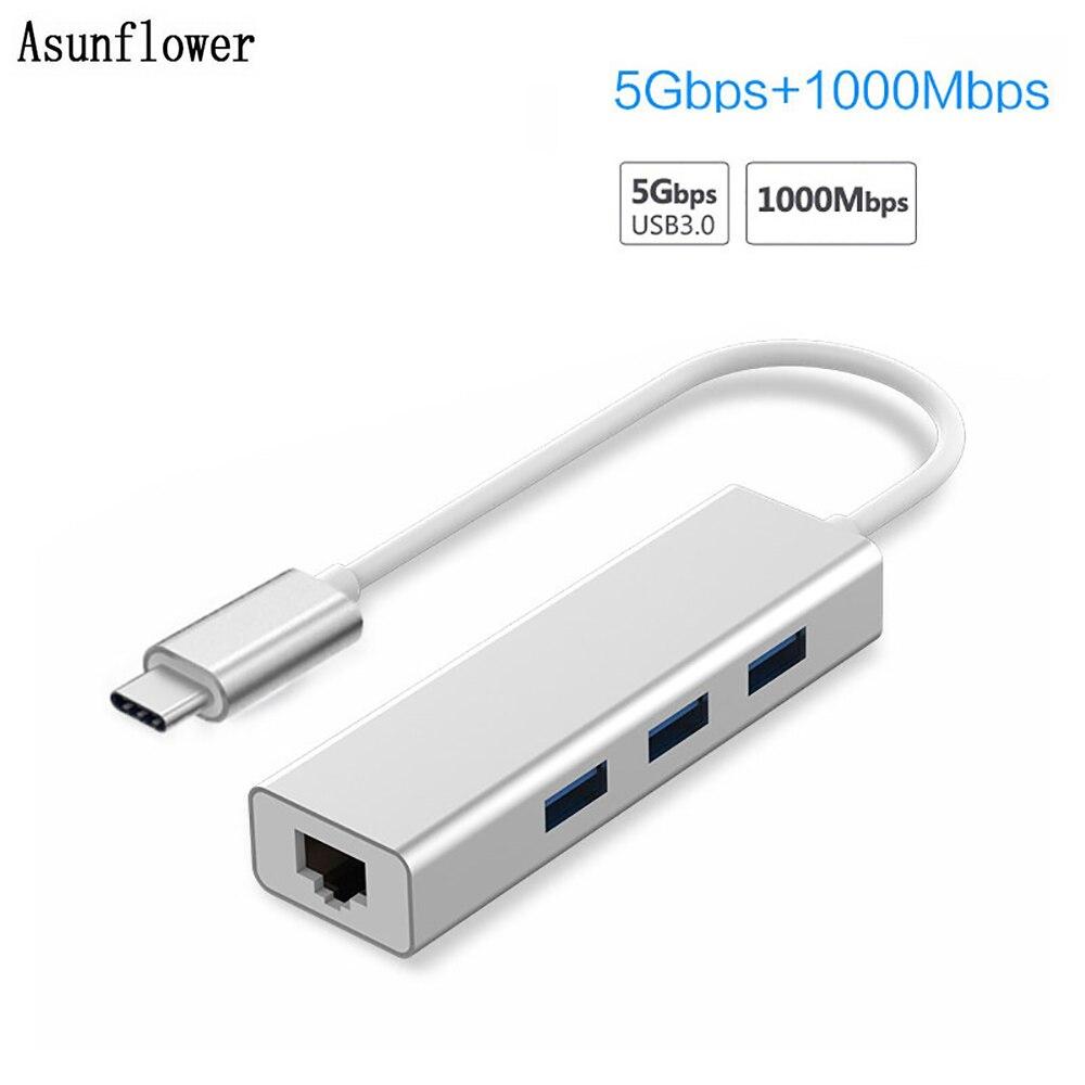 USB Ethernet USB 3,0 a Rj45 Lan Adaptador 3 puertos Hub tipo C con USB 10/100/1000Mbps Gigabit Ethernet tarjeta de red Lan para MacBook