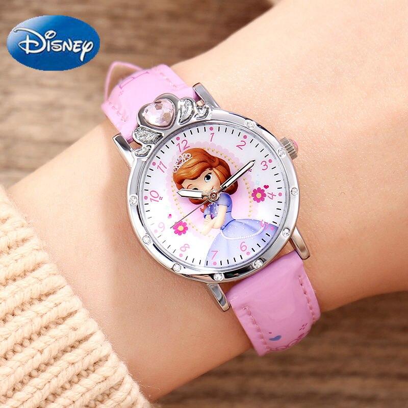 Relojes genuinos de Minnie Sofia para niñas, corona de diamante, hermosa princesa, reloj de estudiante para niños, reloj de regalo para la vuelta al colegio