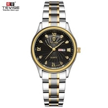 TEVISE Luxury Gold Women Watch Week Day Date Bracelet Watches Ladies Waterproof Fashion Quartz Steel