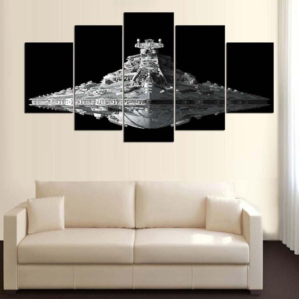 Imágenes impresas, arte de pared, lienzo moderno, decoración para el hogar HD, 5 piezas, película de Star Wars, pintura para sala de estar, marco de cartel de destructor de estrellas