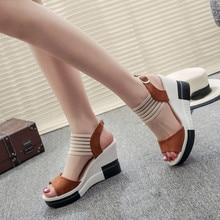 Nueva moda cuñas zapatos de mujer Casual cinturón hebilla tacón alto zapatos Boca de pescado 2019 sandalias de lujo sandalias de las mujeres pero tu damskie