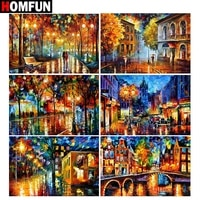 homfun full squareround drill 5d diy diamond painting oil painting landscape 3d embroidery cross stitch 5d home decor gift