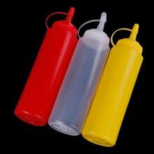 Dispensador de botellas de compresión de plástico de 8oz para salsa, aceite vinagre, Ketchup, utensilios de cocina, accesorios de cocina