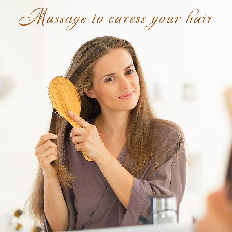 1 Pza de bambú, cerdas de madera, masaje con agujas, cuero cabelludo, peine cepillo de pelo Natural de bambú antiestático, mejora el crecimiento del cabello, previene la pérdida de cabello
