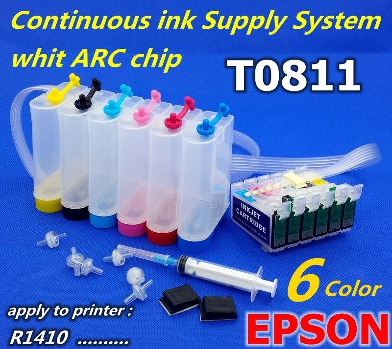 Tanque de tinta T0811 CISS aplicar a la impresora R1410 sistema de tinta PX660 PX700 sistema de suministro Continuo de Tinta