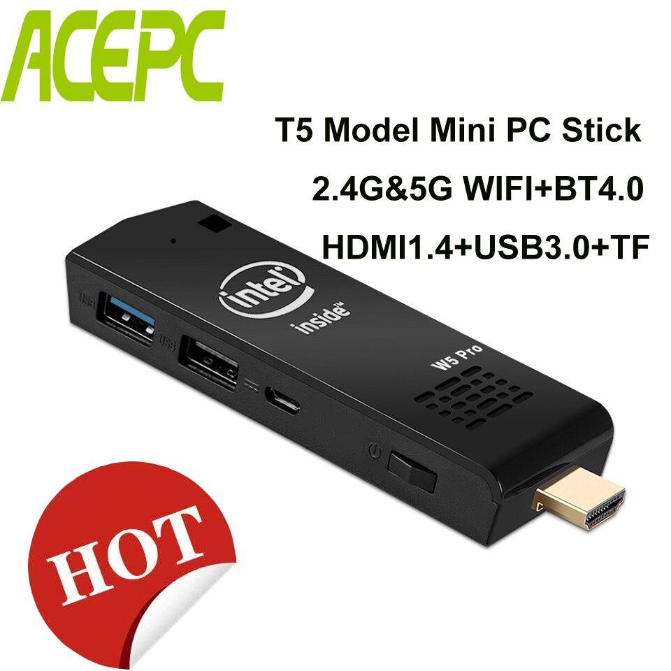 Micro Pocket PC Z8350 Mini PC T5 Mini Computer Intel atom Z8350 Quad Core WiFi2.4G & 5G 4 K bluetooth 4,0 HDMI HTPC USB PC Stick