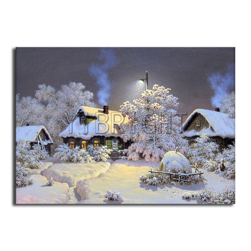 "5D DIY Diamant Malerei Landschaft ""schnee Haus"" harz Quadrat Bohrer Landschaft ""Winter Dorf"" stickerei Hand Home Decor YH"