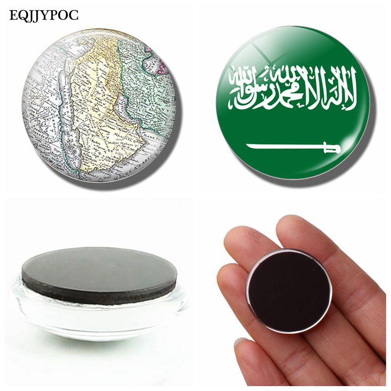 Kingdom of Saudi Arabia National Flag Map 30 MM Fridge Magnet Glass Dome Magnetic Refrigerator Stickers Holder Home Decoration dubai tourist souvenirs fridge magnets khalifa tower saudi arabia refrigerator commemorative magnet stickers home decoration