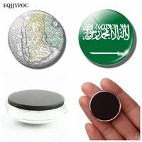 Carte du drapeau National du royaume darabie saoudite  30 MM  dome en verre magnetique pour refrigerateur  support dautocollants  decoration de la maison