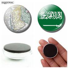 Kingdom of Saudi Arabia National Flag Map 30 MM Fridge Magnet Glass Dome Magnetic Refrigerator Stickers Holder Home Decoration