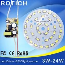 Panneau de lampe à Led de panneau lumineux de 3W 7W 12W 18W 24W 36W 5730 SMD pour le conducteur dalimentation de alimentation LED du plafond + ca 100-265V