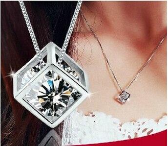 Anenjery 925 Sterling Silver Cube Zircon Pendant Neckace For Women Chain Necklace choker collares kolye S-N76