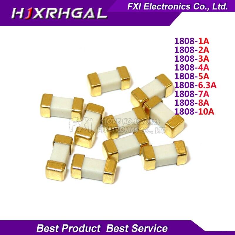 10 Uds Pie de oro de 1808, 125V 0451 SMD rápido fusible 1A 2A 3A 4A 5A 6.3A 7A 8A 10A 0451 ultra-rápida fusibles nuevo original