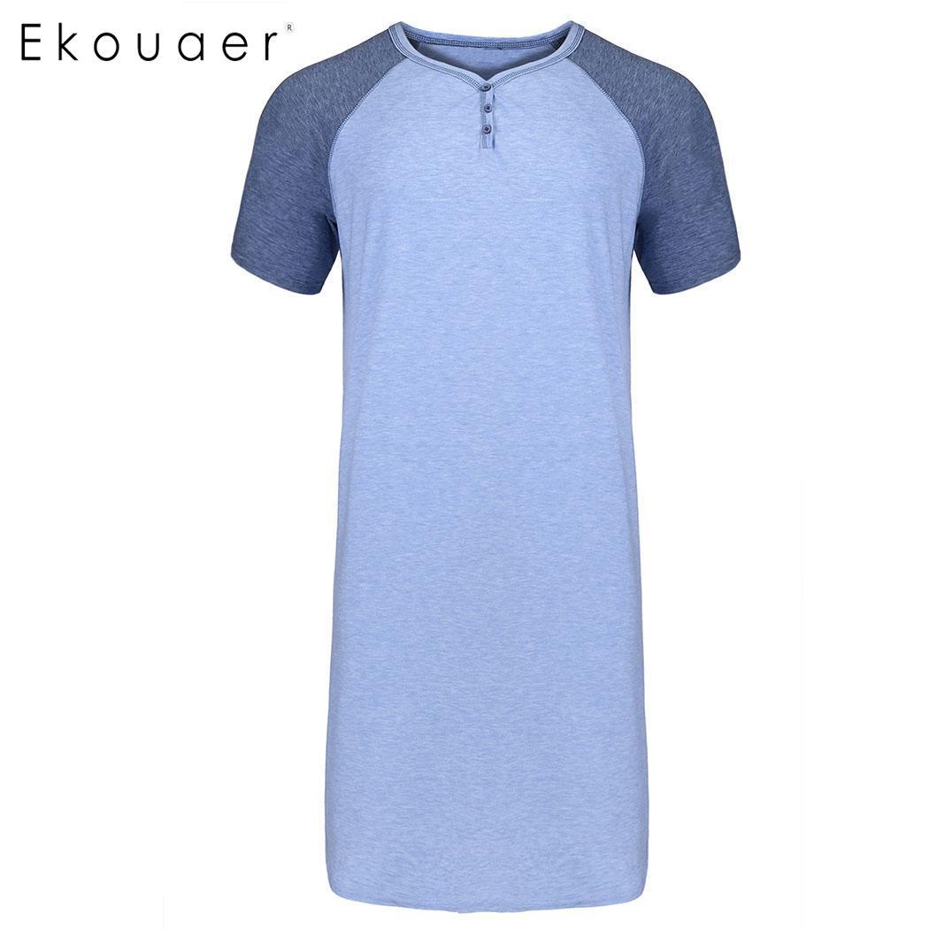 Ekouaer, ropa de dormir informal para hombre, camisón cómodo de manga corta, camisón alto ligero, pijama para dormir suelto, pijama para dormir