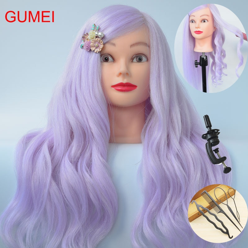 New Style 85% Real Purple Hair Training Mannequin Head For Hairdressers 60CM Mannequin Head With Hair Professional Styling Head head head supershape i rally sw mfpr prd 12 gw brake 85 [f] 18 19 размер 177