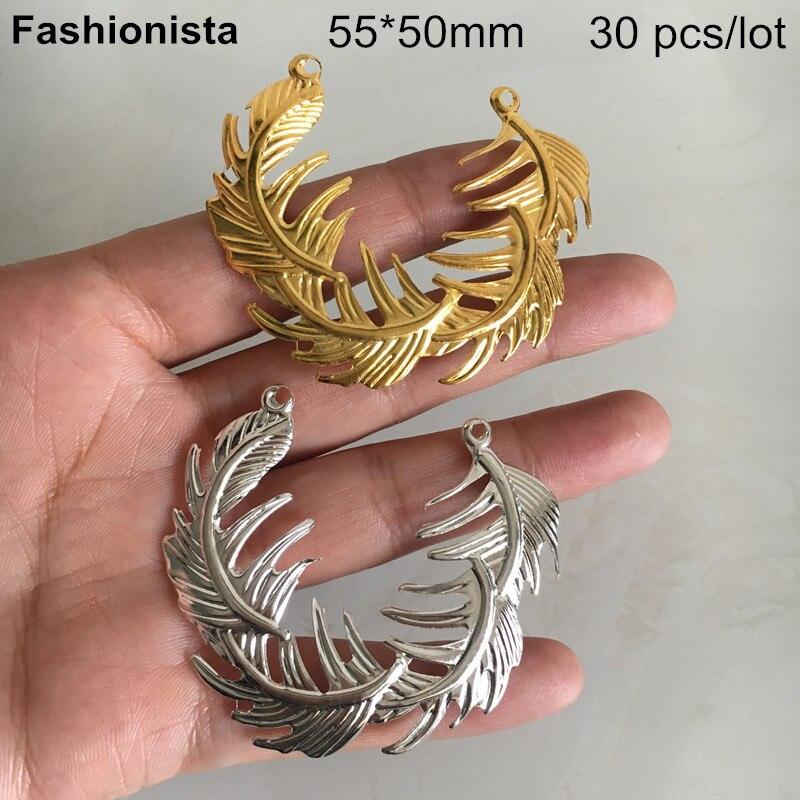 30 pcs Metal Stamping Pena Conectores 55*50mm, Gold-cor/Prata-cor, grande Folha Conectores, Suprimentos Jóias DIY