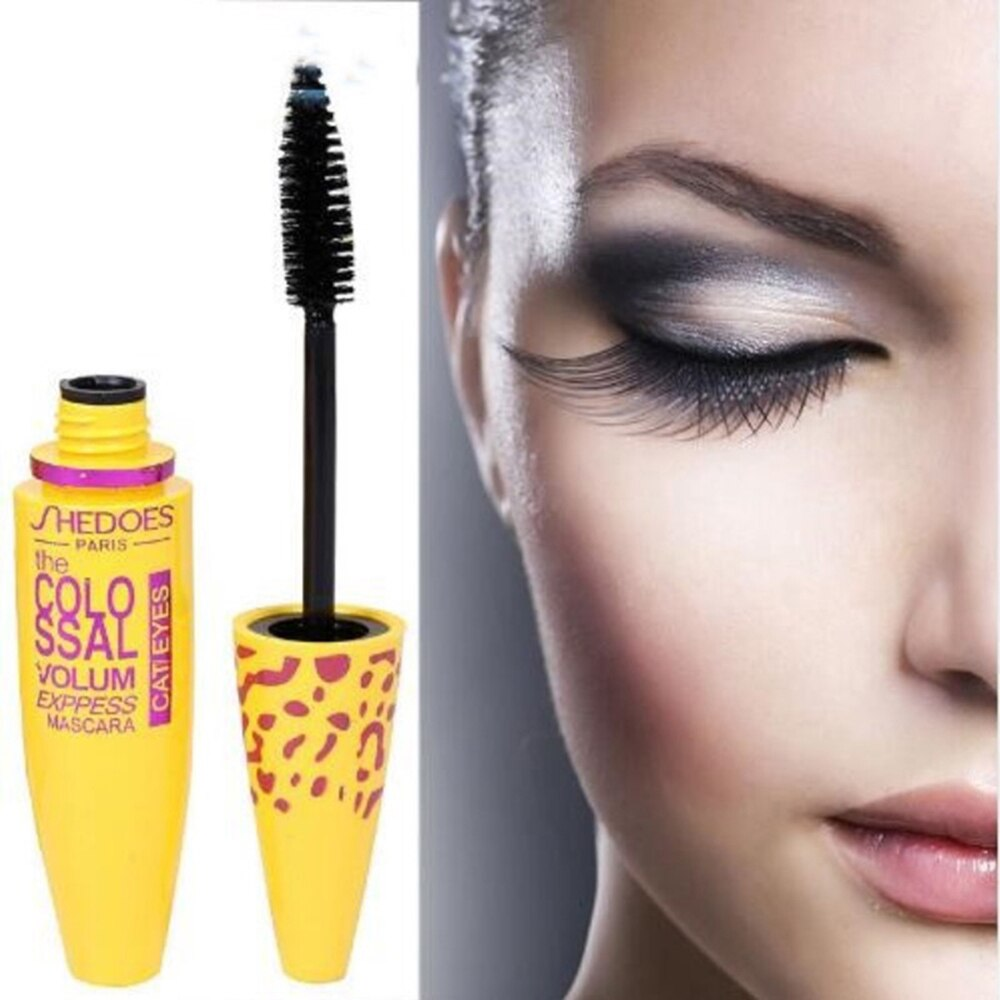 3d fibra pestañas impermeable rimel de la fibra negro grueso Curling duradera amarillo tubo de máscara de cosméticos de maquillaje, maquiagem TSLM1