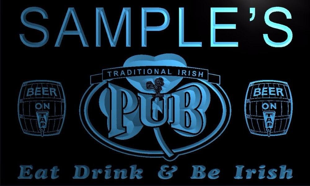 TM002 nombre personalizado irlandés Pub trébol para Bar luz de neón LED de cerveza signos