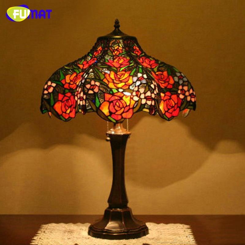 Настольная лампа FUMAT из витражного стекла, европейский стиль, оригинальная лампа в виде Розы, прикроватная лампа для гостиной, украшения дом...