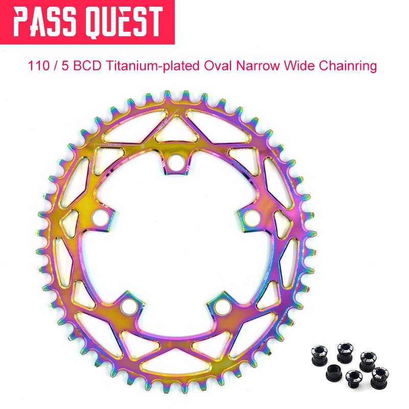 Pass Quest 110/5 BCD 110BCD Chapado en titanio Oval bicicleta de carretera estrecho ancho Chainring 42 T-52 T bicicleta Chainwheel para sram 3550 APEX rojo