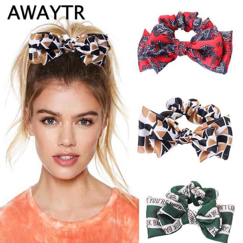 AWAYTR New Fashion Print Bow Scrunchie for Women Elegant Elastic Hair Band Letter Hair Rope Wild Handmade Girls Hair Accessories