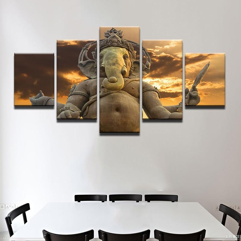 Modern Canvas Painting Frame Living Room Wall Art HD Printed Home Decor 5 Pieces India Tibetan Buddhism Ganesha Poster