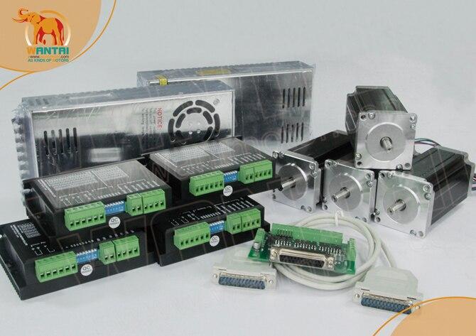 [DE STOCK]4Axis CNC Nema 23 Stepper Motor 425oz-in 3N.m 4.2A WT57STH115-4204A+Driver DQ542MA 4.2A 50V+power supply 350w36v