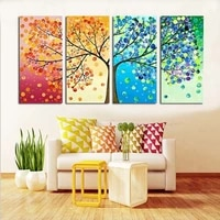 4 pieces colourful leaf tree abstract oil painting modern fashion hd print painting on canvas home decoration wall art picture